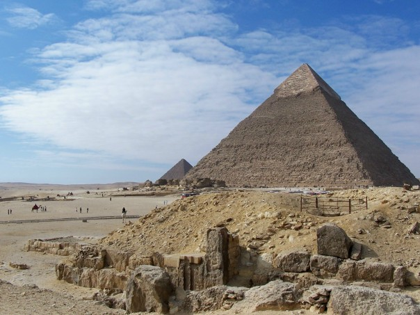 Giza Two pyramids with camels