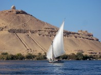 Aswan - felucca and 2 monuments