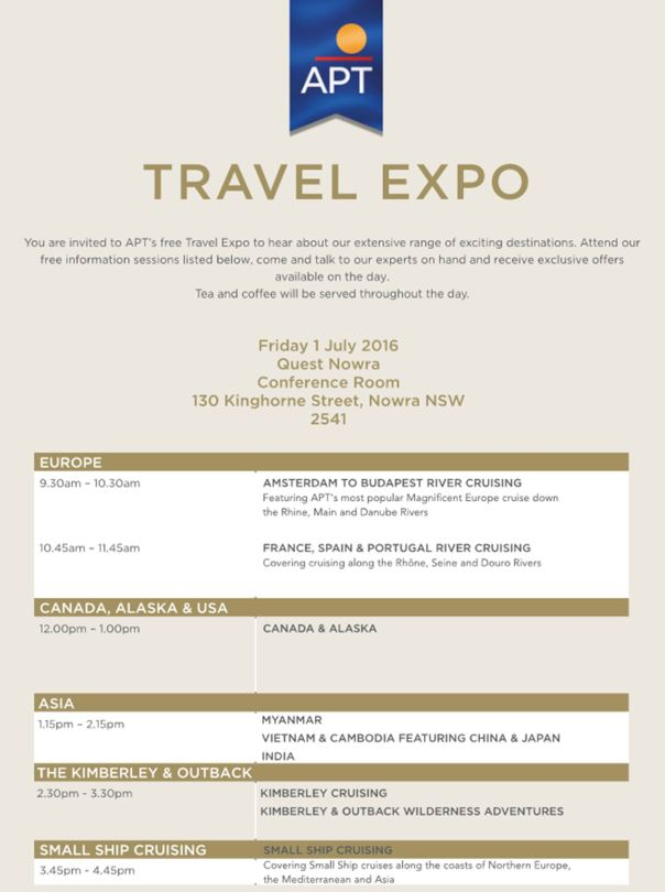 APT Travel Expo Invite Times