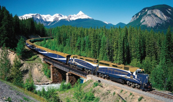 rail_north-america_rocky-mountaineer_train-on-bridge-with-trees-in-background_apt_12x8_llr